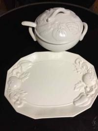 White Platter and Tureen with lid and ladle, by Himark