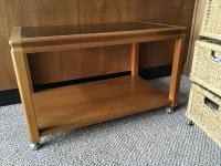 Mid Century Teak Caddy on Casters