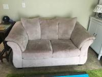 Free loveseat, cream microfiber
