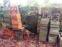 assorted bricks and cement blocks