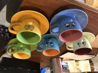 Silly Face Tea Cups and Saucers