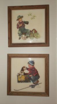 2 Norman Rockwell framed tiles of a Boy and his dog
