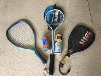 3 Rackets for Squash and Racquetball ( includes balls)