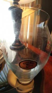 "Clear Glass Vase 10"" - $2"