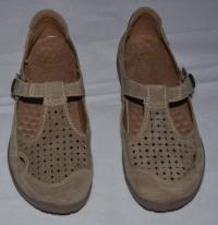 NEW Earth Origins Beige Suede T-strap Perforated Top Flats