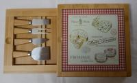Cheese Board with 4-piece Set in Sliding Drawer