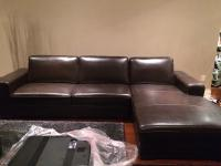 Dark Brown Leather Sectional